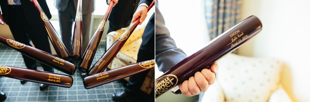 The groom got his groomsmen baseball bats as a gift!