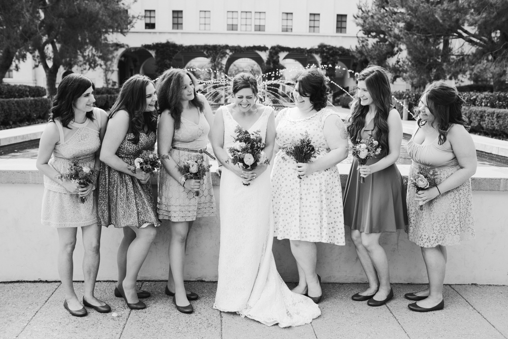 This is a really cute bride and bridesmaid photo!