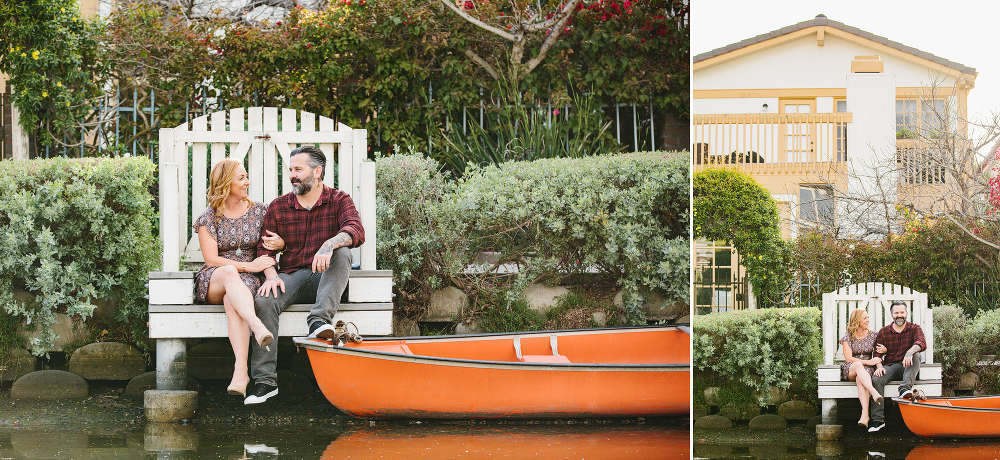 Max and Drew by an orange boat.