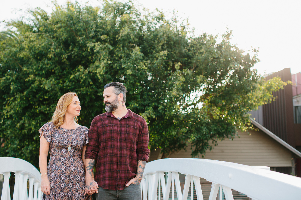 The couple looking at each other.