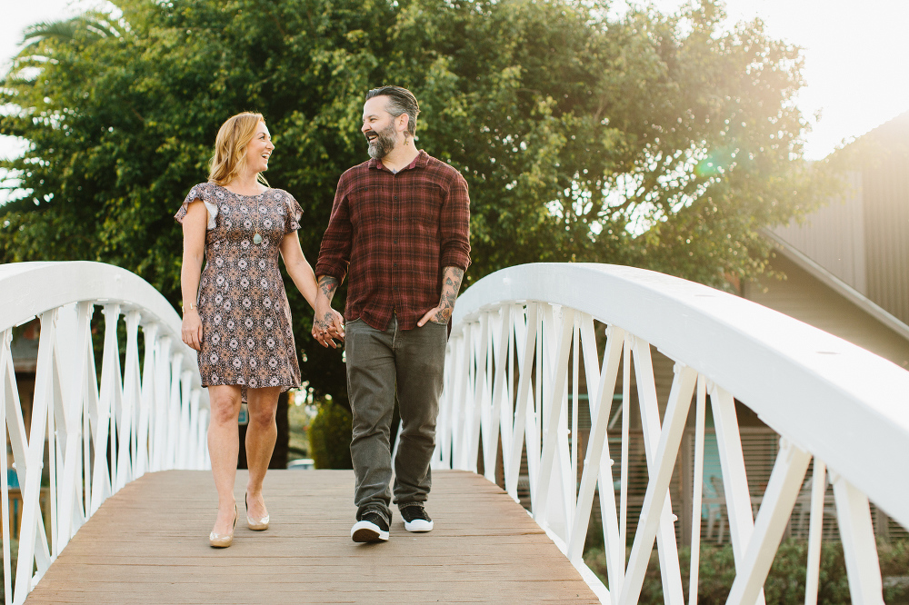 The couple walking together.