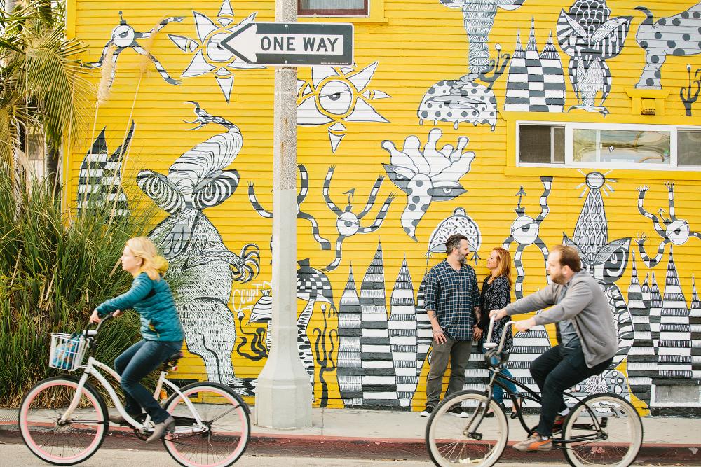Bikes passing Max and Drew.
