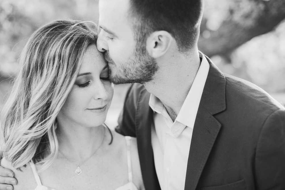 A romantic black and white portrait.