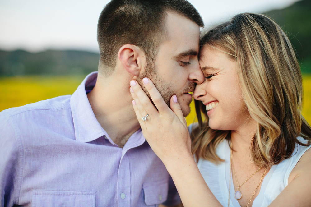 A sweet photo of the couple close together.