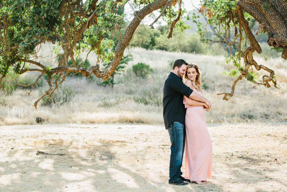 Southern california engagement session with oak trees